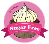 Illustration of a sugar free label with a cupcake on a white background