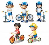 Illustration of the kids with their bikes on a white background