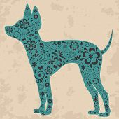 Floral Russian toy terrier