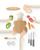 Digitally generated food industry vector with food and chefs hands