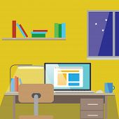 Flat design vector illustration of modern home office interior with designer desktop