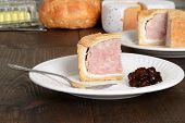 slice pork pie with relish