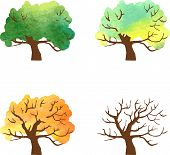 autumn tree changes by watercolor