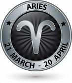 Aries Zodiac Silver Sign, Aries Symbol Vector Illustration