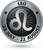 Leo Zodiac Silver Sign, Leo Symbol Vector Illustration