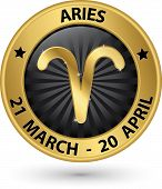Aries Zodiac Gold Sign, Aries Symbol Vector Illustration