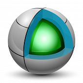 Illustration Green ball into a sphere on a white background. Cut. Vector eps10.