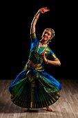 picture of bharatanatyam  - Young beautiful woman dancer exponent of Indian classical dance Bharatanatyam - JPG
