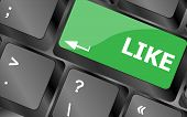 A Like Message On Enter Keyboard Key For Social Media Concepts