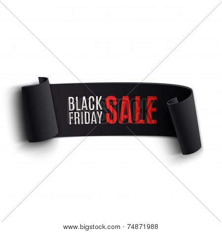 Black realistic curved paper banner poster