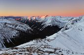 Panorama Of  Winter Tatra Mountains At Sunrise