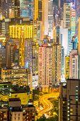 Hong Kong city Skyline from braemar hill at night