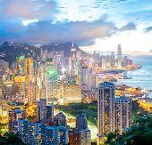 Panorama Hong Kong city Skyline from braemar hill at dusk