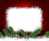 Detailed frame with fir. Red christmas background. Vector illustration.