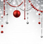Abstract background with red christmas baubles. Vector illustration.