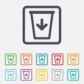 Send to the trash icon. Recycle bin sign.