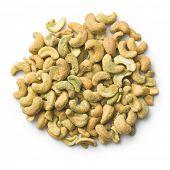 cashew nuts coated wasabi on white background