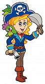 foto of pirate girl  - Pretty pirate girl with parrot  - JPG