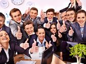 Happy group business people thumb up  in office.