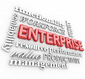 Enterprise related words in 3d letters including resources, management, workforce, performance and productivity