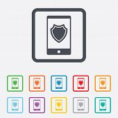 Smartphone protection sign icon. Shield symbol.