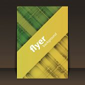 Flyer or Cover Design with Green and Yellow Abstract Pattern
