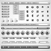 Collection Of Grey Modern Styled Website Design Elements - Web Icon Set and Web Interface Template Clip-Art - Vector Illustration