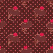 Tile vector cupcakes and polka dots brown pattern