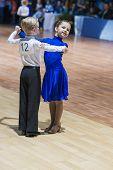 Minsk-belarus, October 19, 2014: Unidentified Dance Couple Performs Juvenile European Standard Progr