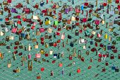 A Lot Of Padlocks On The Bridge