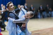 Minsk-belarus, October 19, 2014: Unidentified Dance Couple Performs Youth-1 Standard European Progra