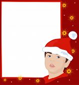 picture of gnome  - Red Christmas frame with stars and gnome face - JPG