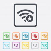 Wifi star sign. Favorite Wi-fi symbol. Wireless.