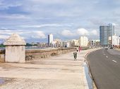 The skyline of Havana with a view of the famous Malecon seawall