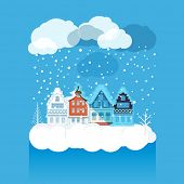 Vintage buildings with snowfall on Winter