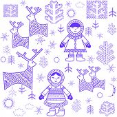 Winter wallpaper with Eskimo