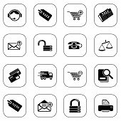 Sale and shopping icons, BW series
