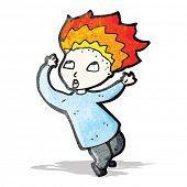 cartoon boy with flaming hair