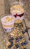 Food. Delicious yoghurt with muesli on the table