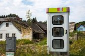 a phone booth in a small village in lower austria. kautzen in the waldviertel