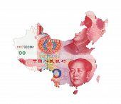 Map Of China Shaped By Rmb Paper Currency