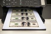 Printer With Usd Paper Currency Coming Out