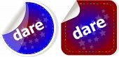 Dare Word Stickers Web Button Set, Label, Icon