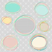 Set Of Frames Abstract On Seamless Background Of Royal Lily