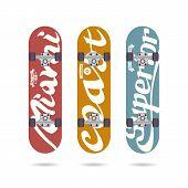 Set Of Retro Vintage Print On A Skateboard