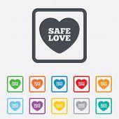 Safe love sign icon. Safe sex symbol.