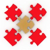 Colorful shiny puzzle. 3d illustration