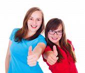 Teen Girls Showing Thumbs Up