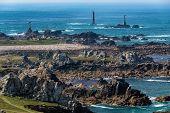 Rocky Pern point coastline in the Ushant island.
