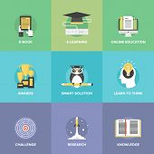 E-learning Flat Icons Set